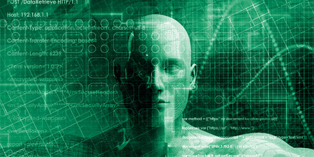 Technology Bcakground with Humanoid Face and Coding Wallpaper 写真素材