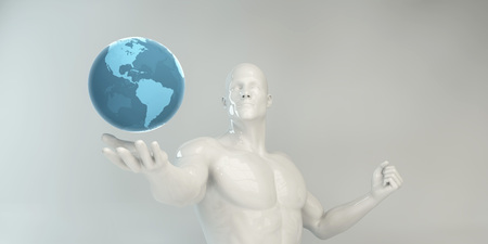 Man Holding Globe Futuristic Successful Business Concept Stock fotó