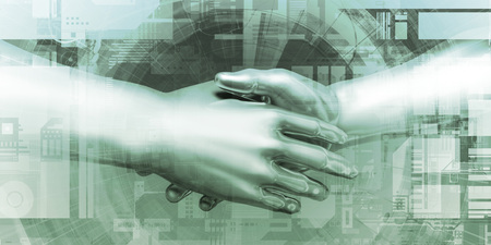Virtual Hand Shake and Digital Agreement Tech Concept 写真素材