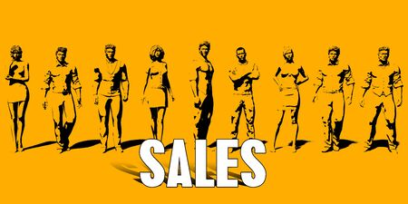 Sales Concept With Business Professionals Standing in a Row