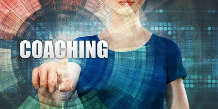 Coaching Technology With Woman Pressing on Screen