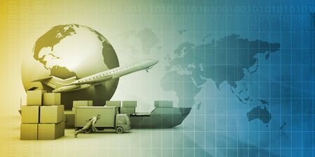 Solution logicielle de chaîne d'approvisionnement pour le concept de réseau mondial Banque d'images