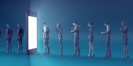 Technology Smartphone Turning People into Zombies Concept