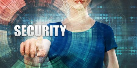Security Technology With Woman Pressing on Screen Standard-Bild