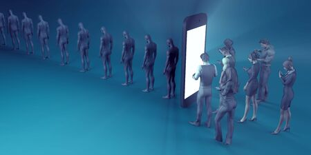 Technological Zombies with People Immersed in their Mobile Phones Stock Photo