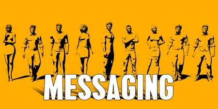 Messaging Concept With Business Professionals Standing in a Row