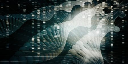 DNA Helix Strand Abstract Background Concept Art 写真素材