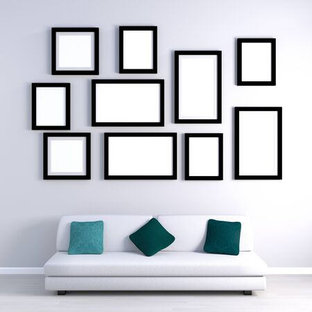 Photo Gallery Hung on Wall Empty with Furniture Stock Photo