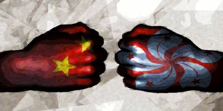 China vs Hong Kong Political Conflict and Disputes Concept