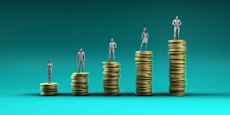 Finance Wealth Increase with Business People Standing on Chart of Gold Coins