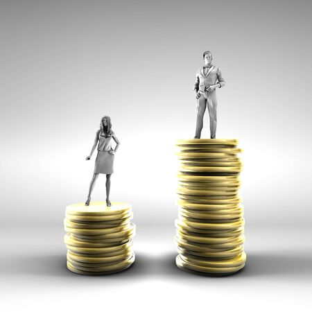 Gender Pay Gap with Woman Being Paid Less 스톡 콘텐츠