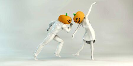 Halloween Dinner and Dance Spooky Party Pumpkin Standard-Bild - 129687720