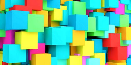 Futuristic Copyspace Background Made of Colorful Cubes