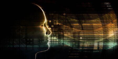 Mind Brain Code as Data Visualization Concept Art Stock fotó