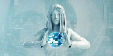 Nordic Business Woman Using Digital Solutions Technology Concept Art