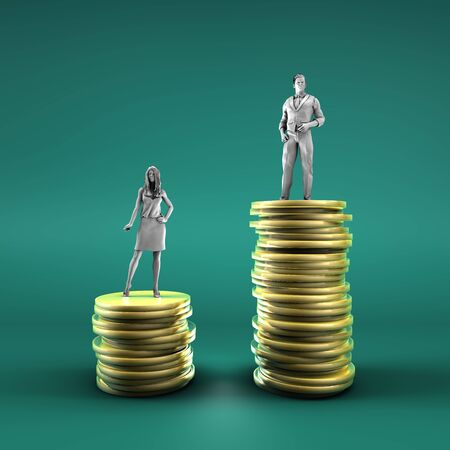 Gender Pay Gap with Woman Being Paid Less Imagens
