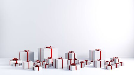 Red Ribbon White Gift Boxes Copy Space on White Wall