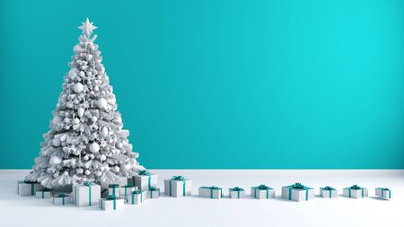 Christmas Tree Background with Copy Space on Blue Wall