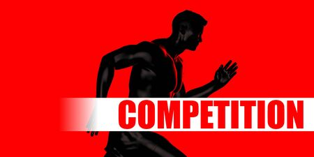 Competition Concept with Fit Man Running Lifestyle