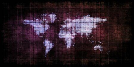 Steam Punk World Map Futuristic and Retro Theme