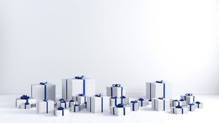 Christmas Presents with White Copy Space Blue Ribbons