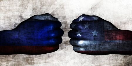 Russia vs US Political Conflict and Disputes Concept Zdjęcie Seryjne