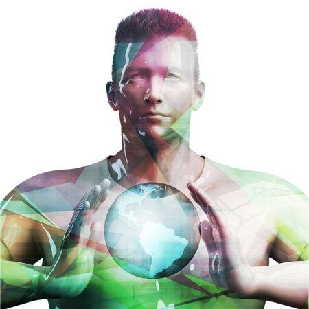 Business Man Holding Globe Future Technology Theme Concept Zdjęcie Seryjne