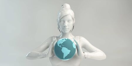 Global Business Management with Professional Holding Globe