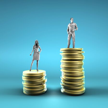 Gender Pay Gap with Woman Being Paid Less Zdjęcie Seryjne