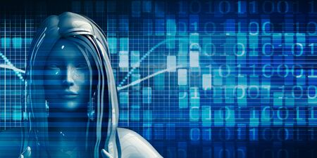 Woman Using Data Analytics Technology Concept Background