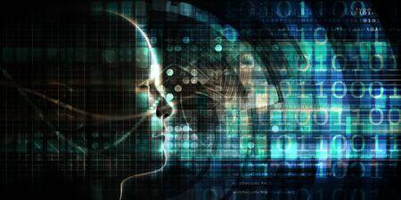 Kunstmatige intelligentie en neurale netwerkleersysteemkunst Stockfoto