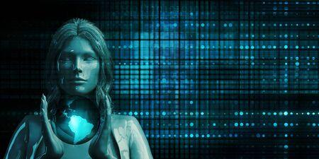 Empowered Woman Holding Globe Future Technology Theme Concept Stock Photo