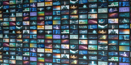 Media Telecommunications Concept with Video Wall Art Banque d'images