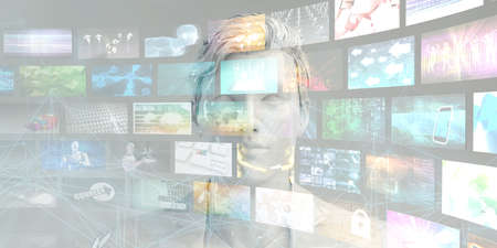 Man Accessing Technology Information and Multimedia Content on Internet
