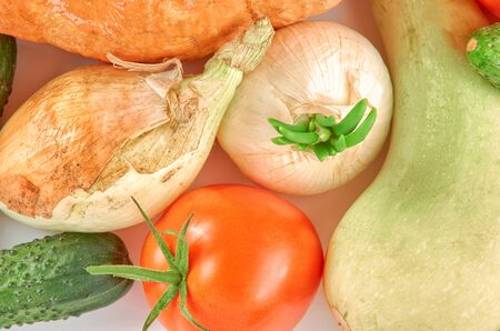 Organic food background. Food photography different vegetables isolated white background.