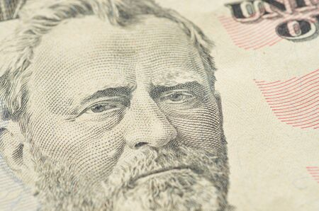 Portrait of Grant from fifty dollars bank note. The view from the top.