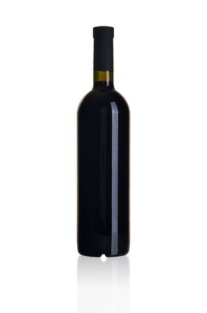 Red wine bottle isolated on white background Archivio Fotografico - 136035440