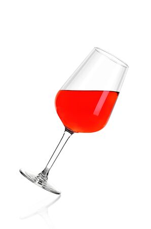 Full glass of rose wine isolated on white background. The glass is tilted to the right. Archivio Fotografico - 136036292