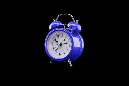 Blue alarm clock close-up isolated on dark background. Archivio Fotografico - 137446395