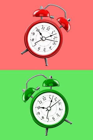 Two colored alarm clocks on a background of colored squares of the opposite color. Archivio Fotografico - 137447149