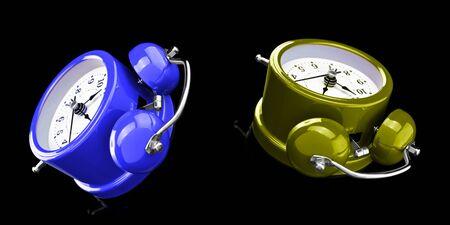 Two-color alarm clock isolated on a dark background. Archivio Fotografico - 137447749