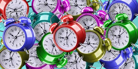 Background of alarm clocks of different colors. Archivio Fotografico - 137446995