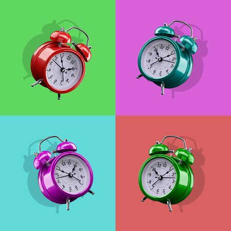 Four colored alarm clocks on a background of colored squares of the opposite color. Archivio Fotografico - 137447308