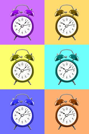 Six color alarm clock on a background of colored squares of the opposite color. Archivio Fotografico - 137447698