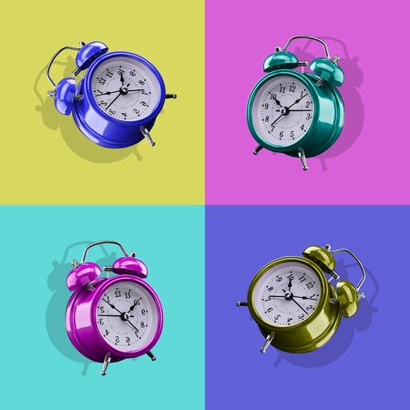 Four colored alarm clocks on a background of colored squares of the opposite color. Archivio Fotografico - 137447785