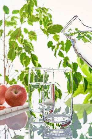 Two glasses on a green natural background. Above the empty glass is a water bottle. Imagens