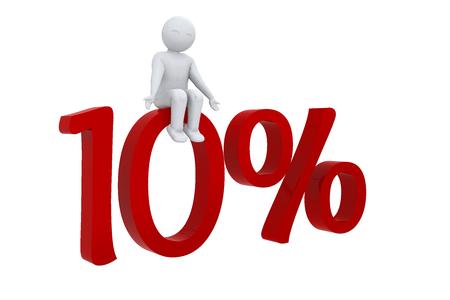 3D man sits on 10 percent