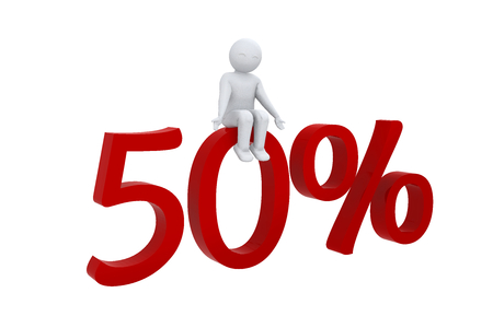 humane: 3D man sits on 50 percent
