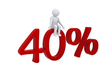 sits: 3D man sits on 40 percent Stock Photo