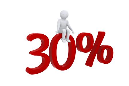 humane: 3D man sits on 30 percent Stock Photo